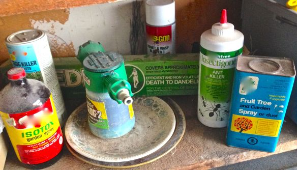 Some nasty products inherited from previous owner.  Photo: S. Marshall