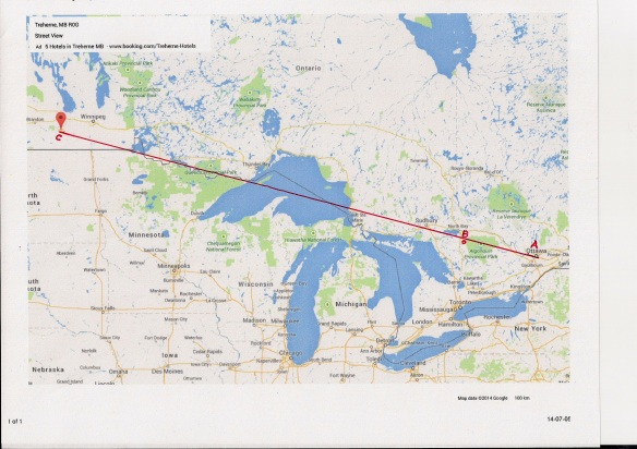 A = Ottawa B = Lake Kawawaymog C = Treherne