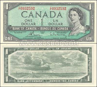 Canadian one dollar bill 1954. Every dollar counts