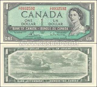 Canadian one dollar bill 1954. Every dollar counts