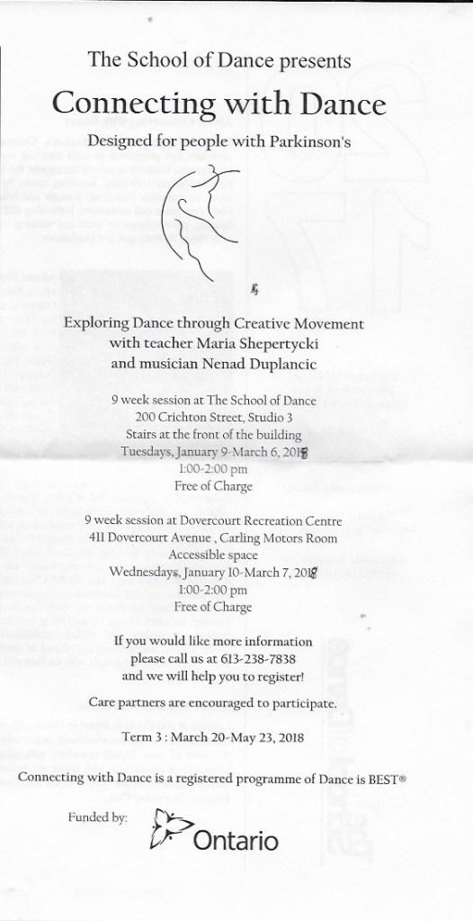 The School of Dance Parkinsons program Jan 2018